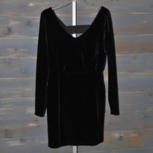 BCBG Black V-Back Faux Velvet Dress, Size M